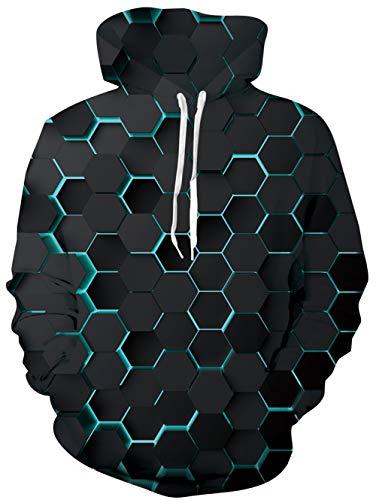 uideazone Uniesx 3D-Druck Hoodies Fleece-Pullover Lustige Kapuzenpullover Sweatshirt für Herren Damen mit Großen Taschen …, 3d-2, L