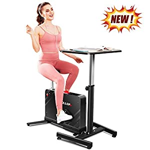 Kismom Desk Cycle Indoor Exercise Bike with Desk, Portable Folding under Desk Cycle Bike 8 Level Magnetic Resistance with Standing Height Adjustable seat for Home Office Gym(Exercise Bike With Desk)