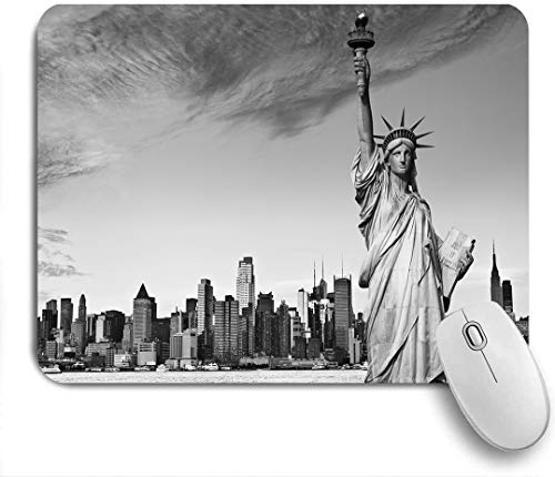 FOURFOOL Mouse Pad,statue of liberty over hudson river in new york city,Non-Slip Rubber Base Mousepad Rectangular Mouse Mat Pad for Office Gaming Laptop Computer PC
