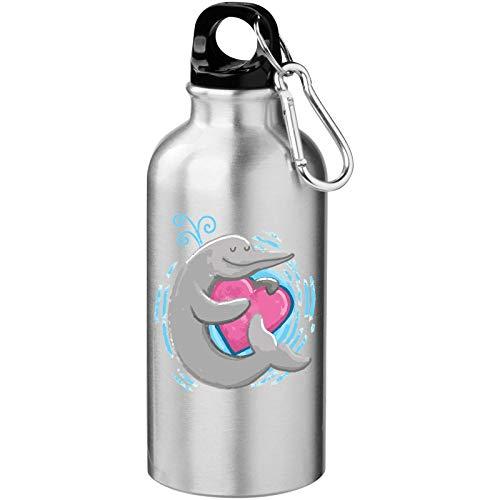 Iprints Cartoon Dolfijn Schets Knuffelen Een Hart Valentijnsdag Toeristische Water Fles