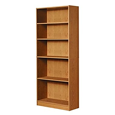Mylex Five Shelf Bookcase; Three Adjustable Shelves; 11.63 x 29.63 x 71.5 Inches, Oak, Assembly Required (43070)