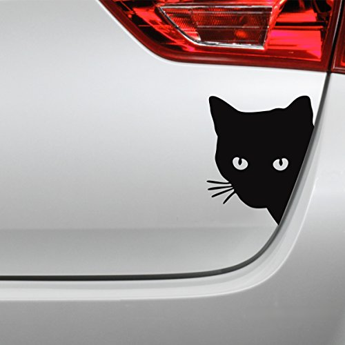 Folistick Katzenkopf Aufkleber Katze Autoaufkleber (Schwarz)