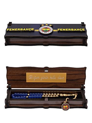 Gök-Türk Handgemachte Schatulle Box mit Ihrer Gravur aus Holz & Tesbih Gebetskette 'Fenerbahce' für Fußballfans, ColorName:mit Gravur