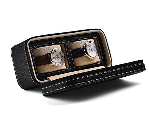 LHY HOME Caja de Relojes con Cremallera con Cremallera de 2 tragamonedas portátiles de 2 tragamonedas Regalo de la Bolsa Acolchada para Hombres (Negro)