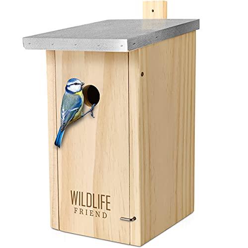 WILDLIFE FRIEND I Cassetta Nido con Tetto in Metallo in Legno massello per cinciallegre e Specie di cinciallegre - casetta per Uccelli Resistente alle intemperie, Non trattata, per cince - 28 mm