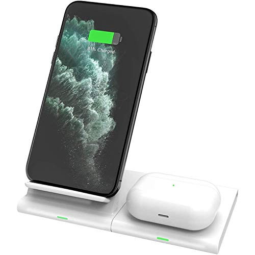 Hoidokly Cargador Inalámbrico Rápido Qi Fast Wireless Charger 7.5W Compatible con iPhone SE/12/12 Pro/11/11 Pro MAX/X/XR/XS/8, 10W Carga para Galaxy Z Flip/S20/S20+/S10+/S10e/S9/S8/S7/Note 10/Note 20