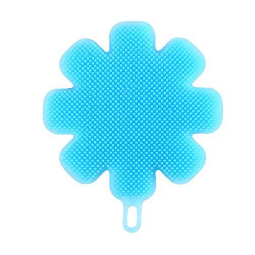 Xianzhengfu Flower Shaped Silicone Scrubber Brush Non-Stick Dish Cloth Cleaning Sponge,blue