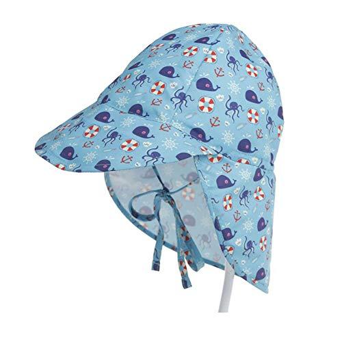 Lazzon Sombrero de Sol para Bebé Niños Niñas Verano Anti-UV Gorro De Playa con Ajustable Correa De La Barbilla