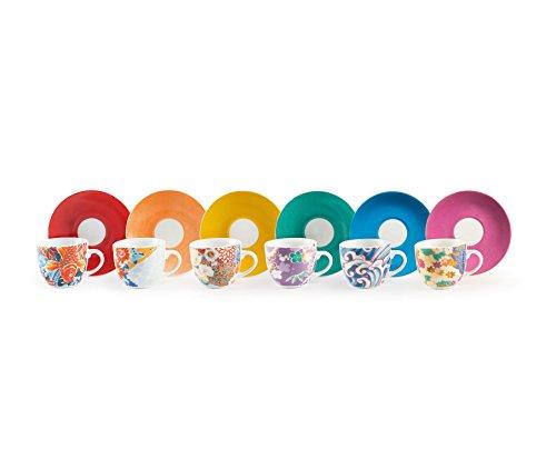 Excelsa Kimono Set 6 Tazzine da caffè con Piattino, Porcellana, Multicolore