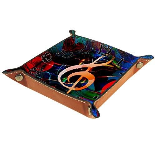 YATELI Caja de Almacenamiento pequeña, Bandeja de Valet para Hombre,Reloj de Notas Musicales,Organizador de Cuero para Llaves de Caja de Monedas