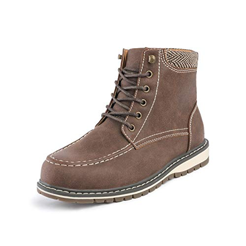 Bruno Marc Boys Drak Brown Lace-up Classic Ankle Work Boots Size 3 Little Kid Apache-01-k