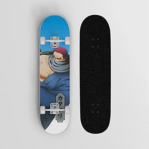 One Piece Charlotte Katakuri Blue Fondo Anime Skateboard, Mini Cruiser, Skateboard de cubierta de arce de 7 capas, Cojinete de carga 100 kg, Scooter de la calle de la calle para principiantes, Regalo
