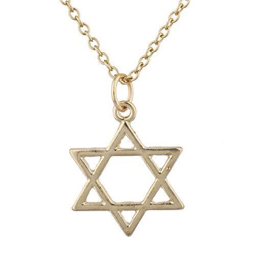 LUX ACCESSORIES Gold Tone Star of David Hanukkah Jewish Charm Pendant Necklace