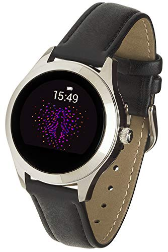 Garett Electronics Frauen Naomi Leder Smartwatch, Schwarz, 5903246284966, schwarz, Silber