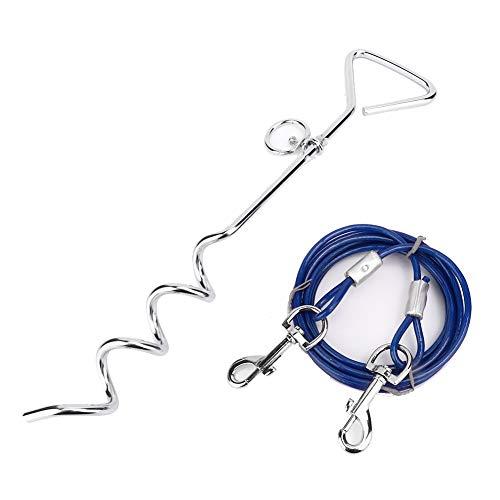 SALUTUYA Dog Spiral Ground Stake mit Zugseil, Ground Pile aus Kohlenstoffstahl, rostfreiem Spiral Stake und verstellbarem Hundehalsband, das den Verlust von Haustieren(Blue, Dog Pile + Steel Trumpet)