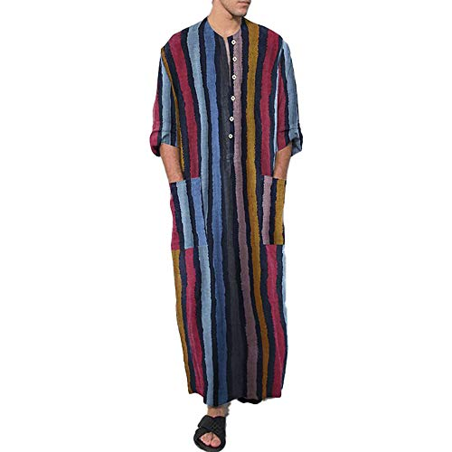 Herren Robe Baumwolle Pyjama Langarm Knopf V Kragen Retro Gestreift Nachthemd Lounge...