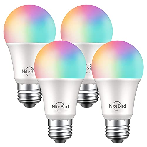 NiteBird Smart Light Bulbs Work with Alexa Echo and Google Home, WiFi Dimmable Color Changing LED Light Bulbs, A19 E26 8W RGB Warm White 2700k, 75W Equivalent, No Hub Required,4 Pack