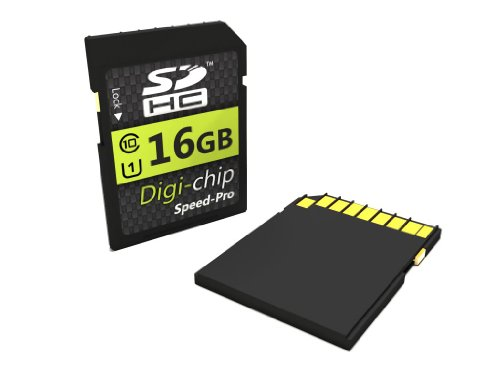 Digi-Chip 16GB UHS-1 CLASS 10 SDHC Speicherkarte für Canon Powershot D20, A3400 IS, A4000 IS, A2400 IS, A2300, A1300, A3500 IS, A1400, A2500, IXUS 510 HS, IXUS 140, IXUS 255 HS, IXUS 132 HS, IXUS 265 HS, N100 and Powershot N Digitalkamera