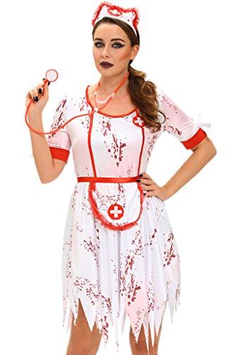 Fortuning's JDS® Frauen 3pcs schreckliches Zombie-Krankenschwester-Kleid-Kostüm