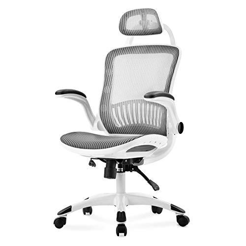 Merax Bürostuhl,Ergonomischer Schreibtischstuhl,Computer Stuhl drehstuhl mit Netz-Design-Sitzkissen,mit hoher Rückenlehne und Verstellbarer Kopfstütze und Armlehne,Maximale Belastbarkeit 150 kg, Weiß