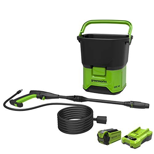 Greenworks Cordless High Pressure Cleaner GDC40K25 (Li-Ion 40 V 650 W Motor Power 70 Bar Pressure 300 l/h Flow Rate 20 Litre Tank 6 m Hose With 2.5 Battery and Charger)