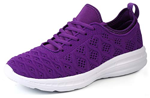 JOOMRA Women Walking Tennis Shoes Purple Lightweight for Gym Street Daily Travel Breathable Comfortable Sport Fashion Athletic Sneakers Size 10