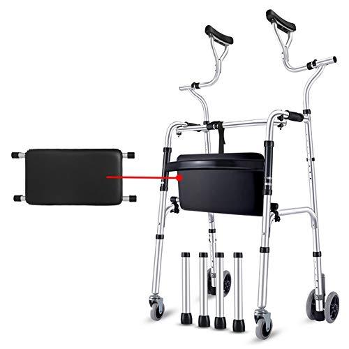 Rollator Gehhilfen Senioren Walker mit Achselstütze, zusammenklappbare Hochleistungs-Aluminiumkrücke mit Rädern, große Menschen stehen aufrecht Walker, Last 190 kg (420 lbs) ( Size : 4 wheels+seat )