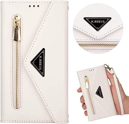 Kompatibel mit Samsung Galaxy A20S Hülle Leder Tasche Brieftasche Flip Wallet Case Schutzhülle Handyhülle Reißverschluss Geldbörse Klapphülle Handytasche mit 5 Kartenfächer,Weiß