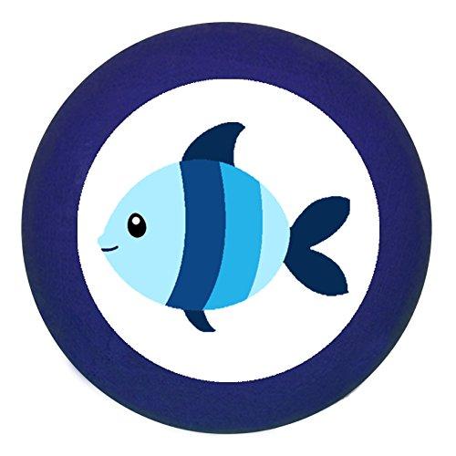 Türknauf Möbelknauf Möbelknopf Möbelgriff Jungen hellblau dunkelblau blau Massivholz Buche - Kinder Kinderzimmer Fisch blau hellblau gestreift Meerestiere maritim - dunkelblau