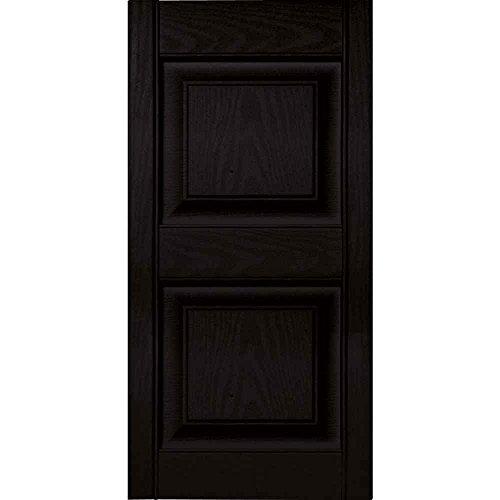 Ekena Millwork 15 in. Vinyl Raised Panel Shutters in Black - Set of 2 (14.75 in. W x 1 in. D x 58.81 in. H (6.98 lbs.))
