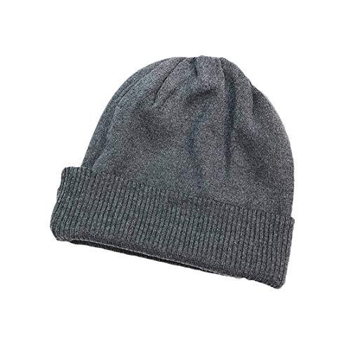 HIOD Hombres Mujer Gorros de Punto con Coleta Beanie Sombrero Invierno Suave Cálido Elástico Beanie Hat,Dark-Gray
