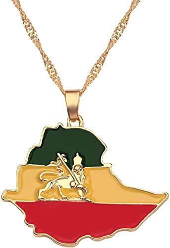 NC122 Collar con Colgante, joyería, Bandera etíope y Mapa de León, Mujeres/Hombres, Color Dorado, mapas de África, Gargantilla de León de Etiopía, Regalos