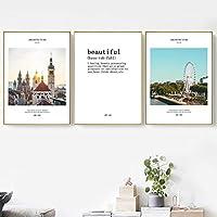 ロンドン市の建築風景は壁の芸術のキャンバスの絵画の現代ポスターを引用し、居間の装飾のための絵を印刷します-40x50cmフレームなし