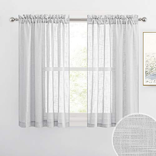 RYB HOME Linen Sheer Curtains for Kitchen, Casual Wave Texture Semi Sheer Curtains for Bedroom / Bath, Privacy Window Curtains for Home Office, Dove Grey, 52 x 45 Each Panel, 2 Pieces