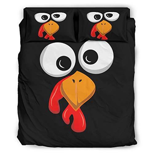 Qunrontan Lustiges türkisches Gesicht Thanksgiving hypoallergener Bettbezug Bettwäsche 175 x 218 cm