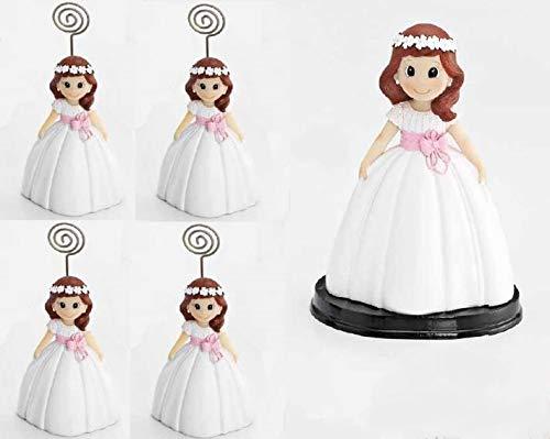 Momparler1870 Fotohalter und Tortenfigur, Kommunionstorte für Spiel, Mädchen mit schöner Tajine und Blumenkranz, ideales Geschenk