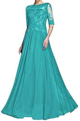 Damen Abendkleid Lang Elegant Hochzeitskleid Brautmutterkleid Spitzen Ballkleid A-Linie Festkleid mit 1/2 Ärmel Jade 36