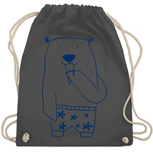 Shirtracer Bunt gemischt Kinder - Süßer Bär in Badehose - Unisize - Dunkelgrau - Eis - WM110 - Turnbeutel und Stoffbeutel aus Bio-Baumwolle