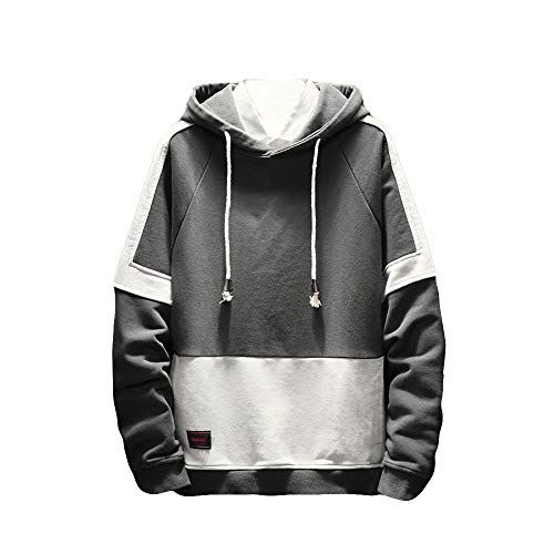 Hoodies For Men, Clearance Sale! Pervobs Men's Autumn Long Sleeved Patchwork Hooded Hoodies Sweatershirt Pullover(L, Gray)