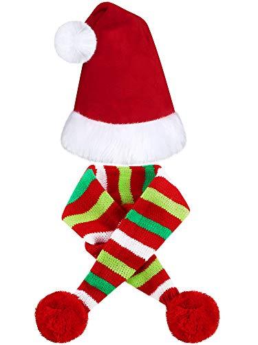 2 Stücke Weihnachten Haustier Hund Weihnachtsmütze Haustier Santa Schal für Weihnachten Haustier Hunde Katzen Dressing Up Lieferungen (L)