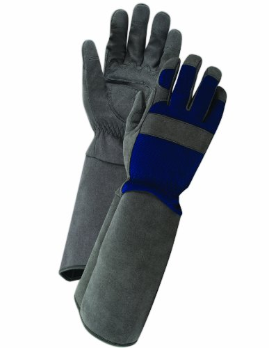 Magid Glove & Safety TE194TL Rose Pruning Gardening Gloves, Mens Large, Grey & Blue