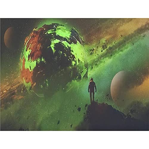Paint by Numbers Kits sci fi Concept of an Astronaut Standing on Huge Rock Looking at theDIY Oil Painting for Beginner Canvas Painting Fine Art Art for Home Art Wall with Framed- 20X16 in