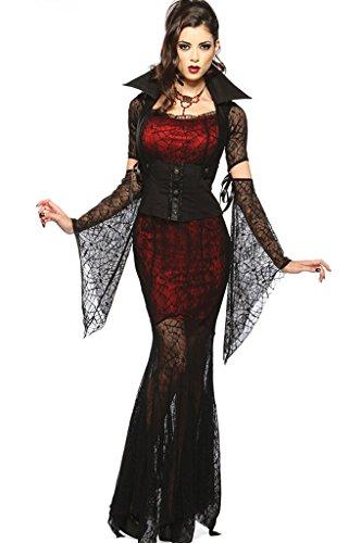 Fortuning's JDS® Sexy Halloween Blutige Vampire Bride Hexe Spinne Spitze Kostüm-Kleid Cosplay
