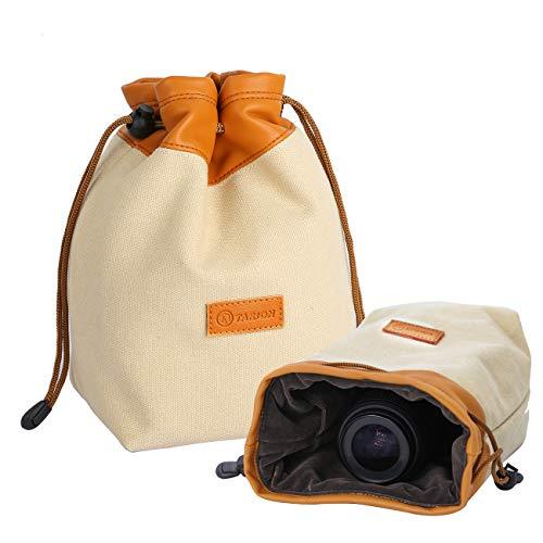 TARION カメラポーチ カメラバッグ ミラーレス 巾着袋 レンズポーチ レンズケース 一眼レフ デジタルカメラケース カメラ収納袋 13*12*21CM 一眼レフカメラ デジタルカメラ適用 Mサイズ