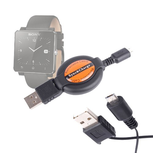DURAGADGET Cable MicroUSB Retráctil para Sony SmartWatch 2 / Withings Pulse