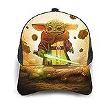 ZHENGJIANWEI Baby Yoda Star The Wars - Gorra de béisbol mandaloriana de la moda divertida y transpirable de malla para el sol, ajustable, popular, Hip Hop Print Deportes Casual Sombreros Negro