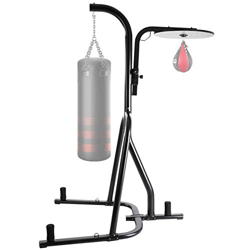 """HOMFY 2 in 1 Heavy Bag Stand Boxing Rack Dual Adjustable Station Boxing Stand - Speed & Heavy Bag not Included 47.2""""57.9""""86.6"""""""