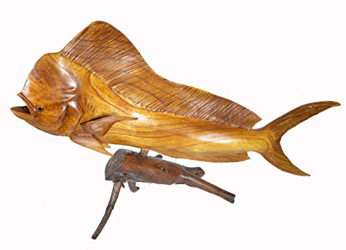 WorldBazzar Huge Beautiful Handmade Wooden MAHI MAHI Dolphin Sculpture Statue Carving Sport Fish Trophy ONE of A Kind