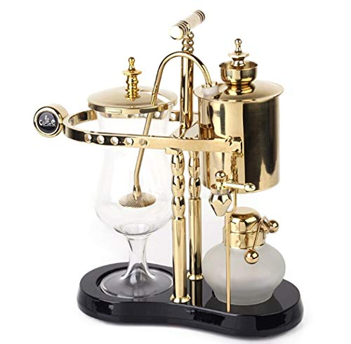 Diguo Belgian/Belgium Family Balance Siphon/Syphon Coffee Maker. Elegant Double Ridged Fulcrum with Tee handle (Classic Gold)