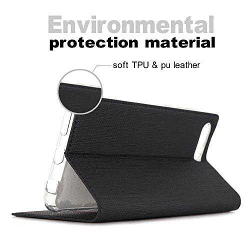 Feitenn Honor View 10 Hülle, dünne Premium PU Leder Flip Handy Schutzhülle | TPU-Stoßstange, Magnetverschluss, Kartenschlitz und Standfunktion Brieftasche Etui (Schwarz) - 6